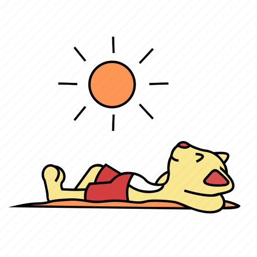 cat, happy, lay, rest, sand, sun, sunbathing icon