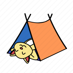 camping, cat, happy, lay, rest, sleep, tent icon