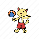 ball, beach volleyball, cat, game, kick, play, throwing icon