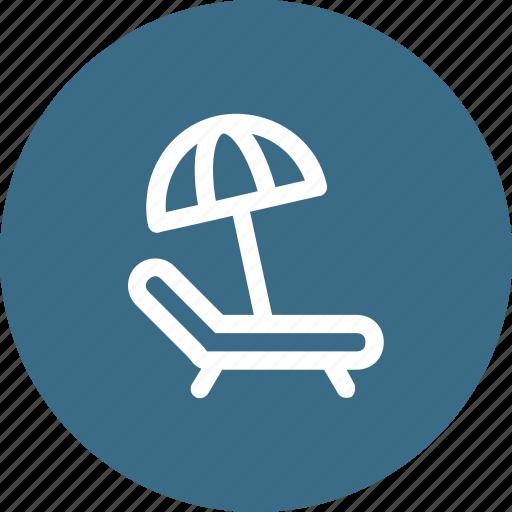 beach, bed, desert, relax, sunny, umbrella, view icon