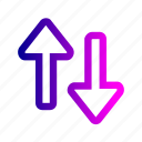 arrow, bottom, direction, down, path, top, up icon