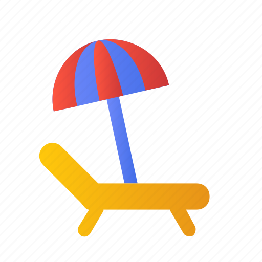 beach, bed, desert, relax, sunny, umbrella, view icon