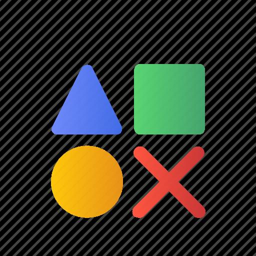 Development, square, triangle, cross, shape, design, round icon - Download