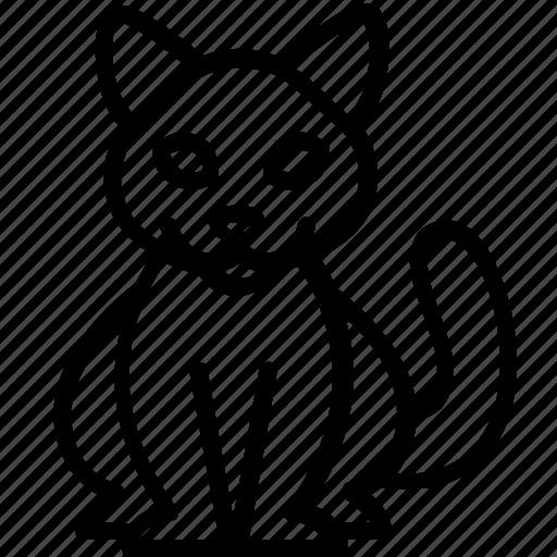 animal, cat, pet, silhouette, sitting icon