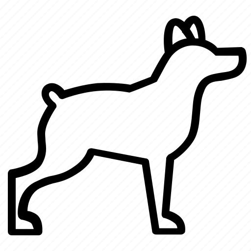 animal, dog, pet, side, silhouette, view icon