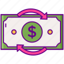 back, dollar, guarantee, money, return icon