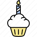 cake, candle, cup, dessert, food, sweet, treat icon