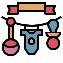 baby, banner, clothes, pacifier, shower, toy icon