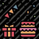 birthday, cake, flag, gift, party, ribbon icon