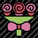 bouquet, bow, celebration, congratulation, flower, rose icon