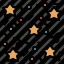 celebration, confetti, paper, party, ribbon, star icon