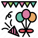 balloon, bash, decoration, fire, flag, party icon
