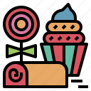 cake, candy, dessert, party, roll, sweets icon