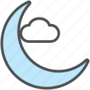 cloud, forecast, moon and cloud, night, night weather, weather icon