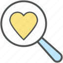find heart, heart, love, magnifying, search, seek loving, valentine icon