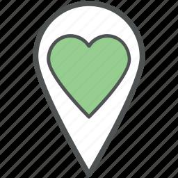 favourite location, heart location, like location, location marker, location pin, love location, map pin icon