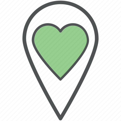 favourite location, heart location, like location, location marker, location pin, love location, map pin icon