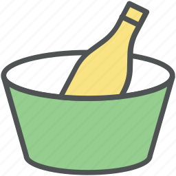 alcohol, alcoholic drink, beer bottle, bottle, wine, wine bottle, wine bucket icon