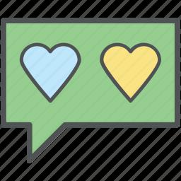 couple messaging, heart bubble, lover chat, romantic chat, speech bubble icon