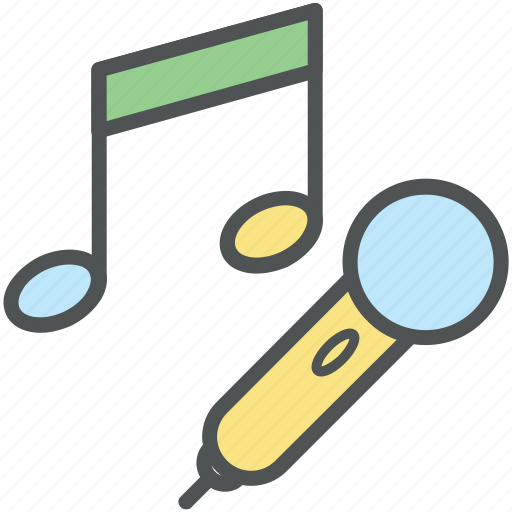 colloquially mic, melodic, mic, microphone, music, music notes, musical instrument, songs icon