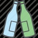 alcohol, beverage, bottle, champagne, drink, two bottles, wine bottle