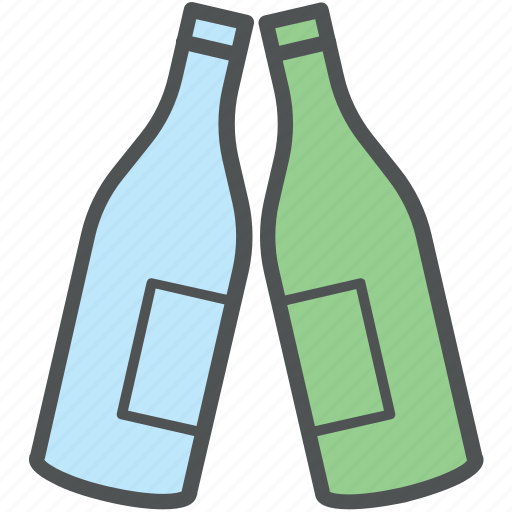 alcohol, beverage, bottle, champagne, drink, two bottles, wine bottle icon