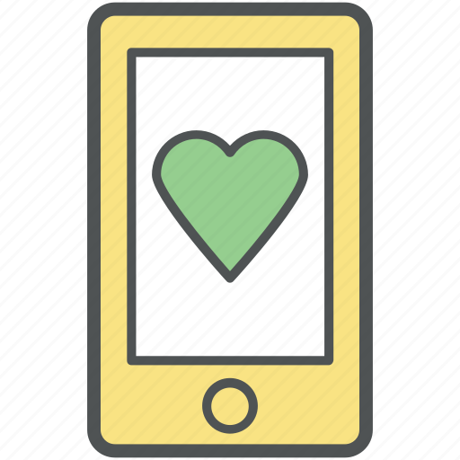 cell phone, heart on mobile, iphone device, love, mobile, romance, smartphone icon