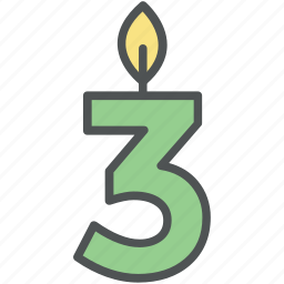 birthday candle, birthday decorations, burning candle, third birthday, three number candle icon