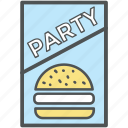 food menu, menu, menu card, party card, party invitation, party menu, restaurant icon