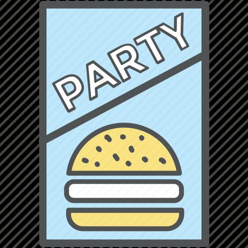 food menu, menu, menu card, party card, party invitation, party menu, restaurant icon