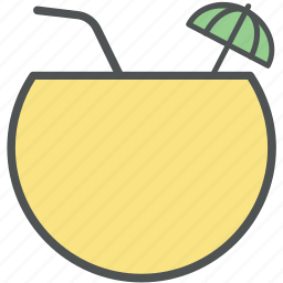 coconut drink, coconut fruit drink, coconut juice, coconut water, tropical icon