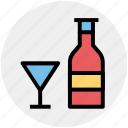 alcohol, alcoholic drink, beer, beer bottle, glass, wine, wine bottle icon