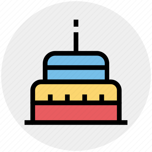 Birthday cake, cake, cake with candle, dessert, sweet icon - Download on Iconfinder