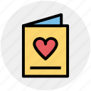 bookmark, card, heart, invitation card, love card icon
