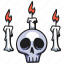 witch, ritual, candle, flame, fire, halloween, skull