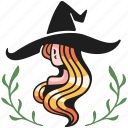 halloween, cute, witch, hat, character, costume, magic icon
