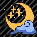 moon, crescent, celestial, sky, cloud, night, star