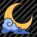 moon, crescent, celestial, sky, light, moonlight, stars