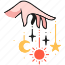 moon, crescent, celestial, star, sun, decoration, boho icon