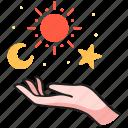 moon, crescent, celestial, star, tattoo, hands, sun