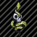 skull, tattoo, snake, death, skeleton, horror, serpent
