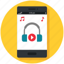 mobile app, multimedia, music, play, smartphone, sound icon, • audio icon