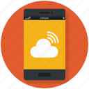 mobile, signal, smart-phone icon, • cloud icon