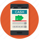 business, cash, currency, financial, mobile app, smart mibile, • bank icon