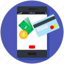 atm, bank, cash, mobile, online pay, payment, • card icon