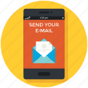 email, mail, message, mobile app, smartphone, sms, • chat icon