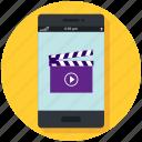 clapper, mobile, movie, phone, smartphone, video icon, • app icon