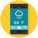 cloud, mobile, rain, raining, temprature, weather icon, • app icon