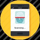 cofiguration, identification, mobile, phone, protection, security icon, • fingerprint icon