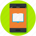ebook, knowledge, learning, mobile app, reading, study icon, • book icon